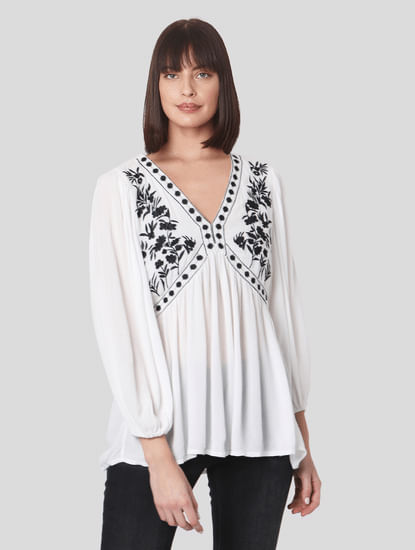 White Embroidered Boho Top