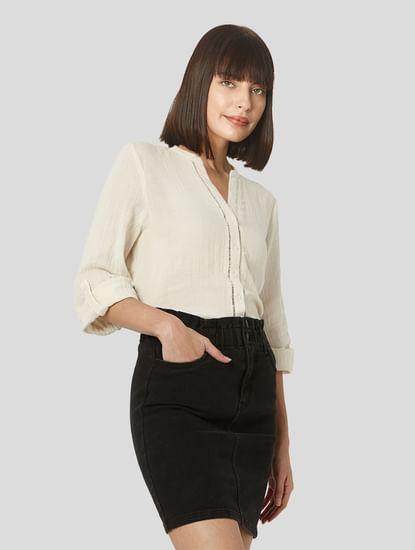 Beige Textured Organic Cotton Shirt
