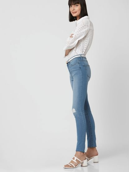 Blue Mid Rise Ripped Skinny Jeans