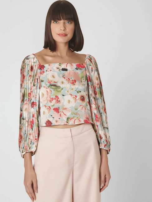 Light Green Floral Pleated Sleeves Top