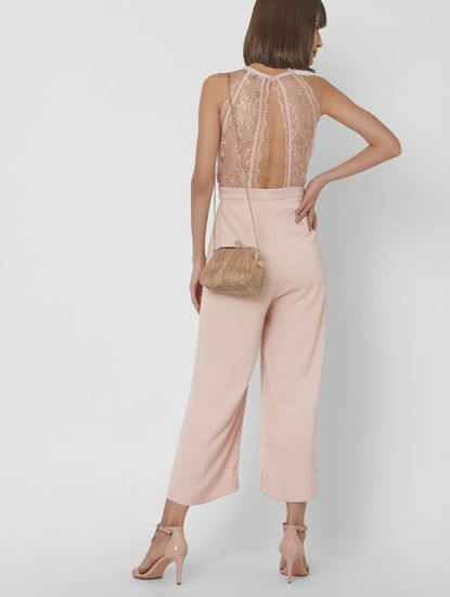 Beige Pleated Neckline Jumpsuit