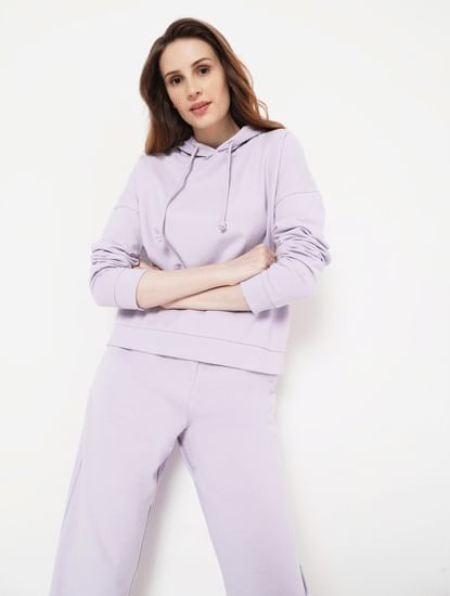 Lilac Hooded Co-ord Sweatshirt