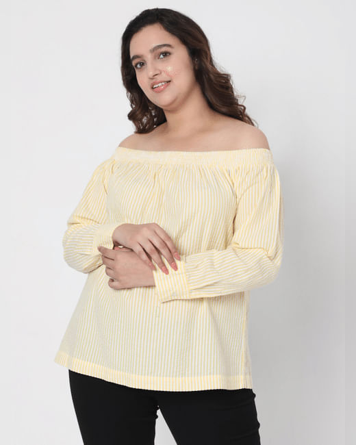 Yellow Off Shoulder Striped Top