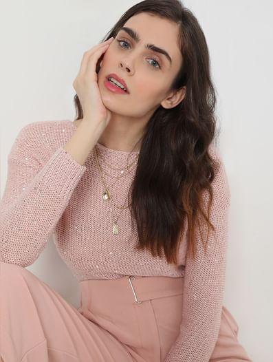 Pink Drop Shoulder Sweater
