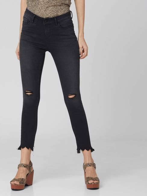 Black Mid Rise Ripped Skinny Jeans