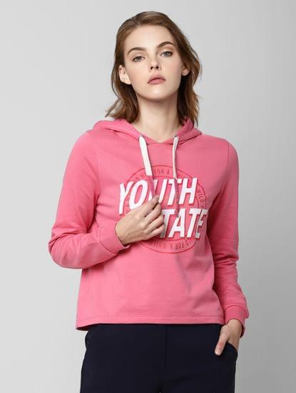 Pink Text Print Hooded Sweatshirt