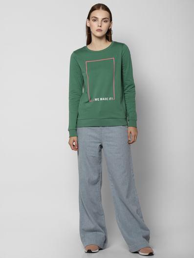 Green Slogan Print Sweatshirt