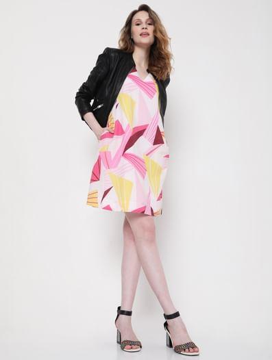 Pink Abstract Print Shift Dress