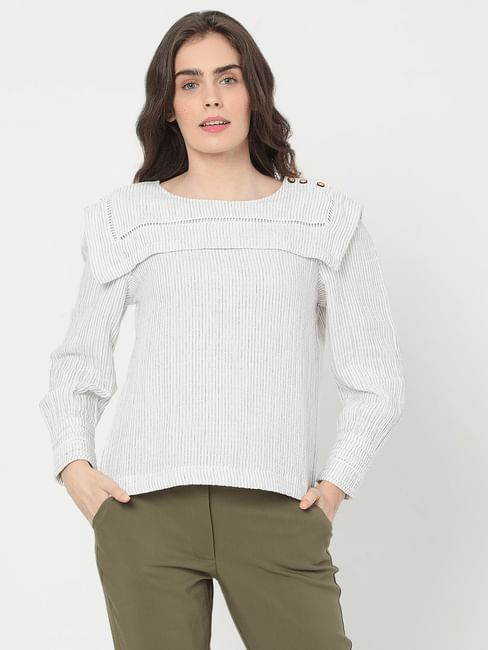 White Yarn Dyed Striped Top