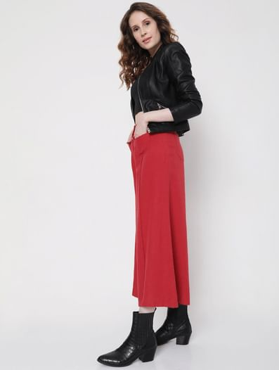 Red High Rise Wide Leg Pants
