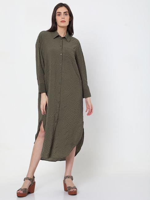 Green Textured Shirt Dress