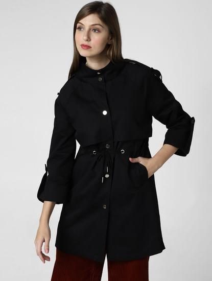 Black Rivet Detail High Neck Coat