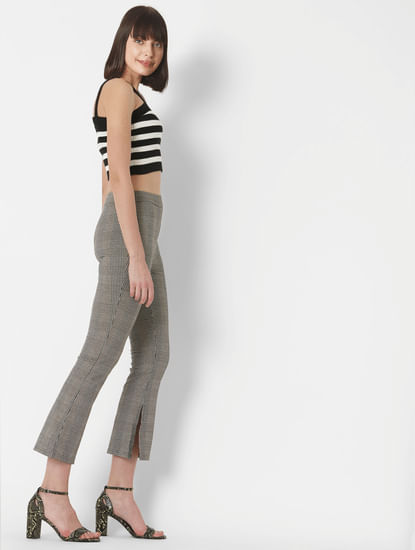 Beige Check Mid Rise Flared Leggings