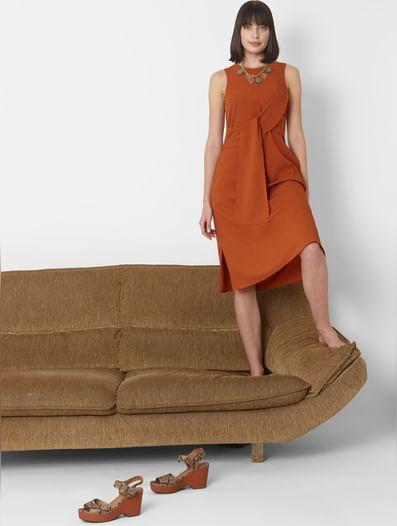 Brown Front Knot Skater Dress