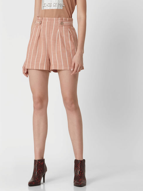 Pink Mid Rise Striped Shorts