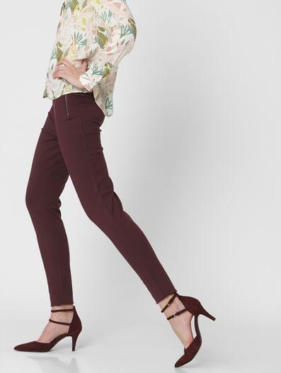 Burgundy High Rise Leggings