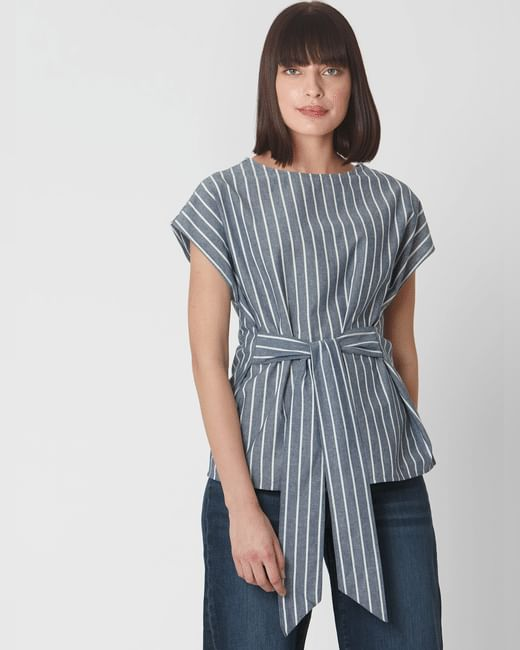 Blue Front Knot Striped Top