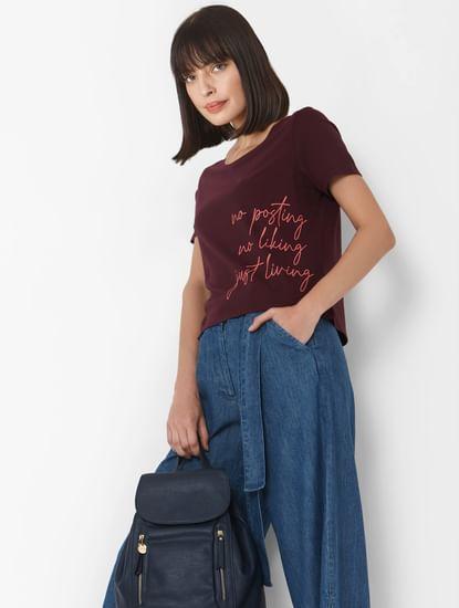 Purple Text Print Cropped T-shirt