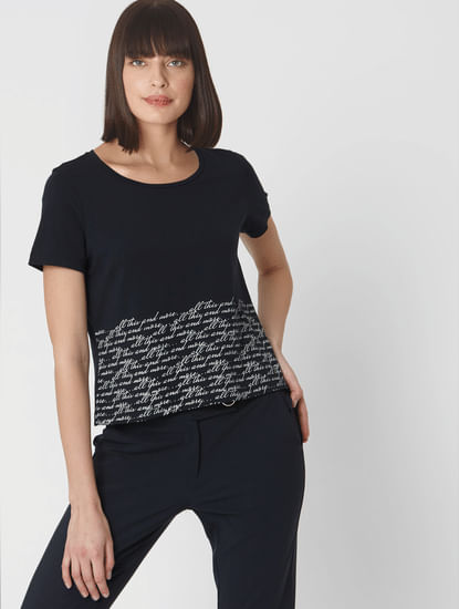 Navy Blue Scribble Text Print Cropped T-shirt