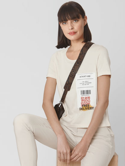 Beige Free Delivery Text Print T-shirt