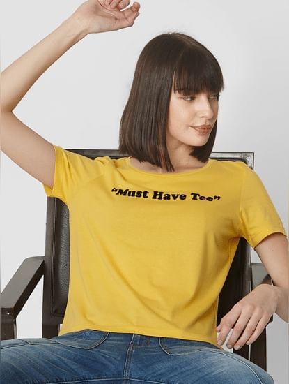 Yellow Must Have Text Print Cropped T-shirt