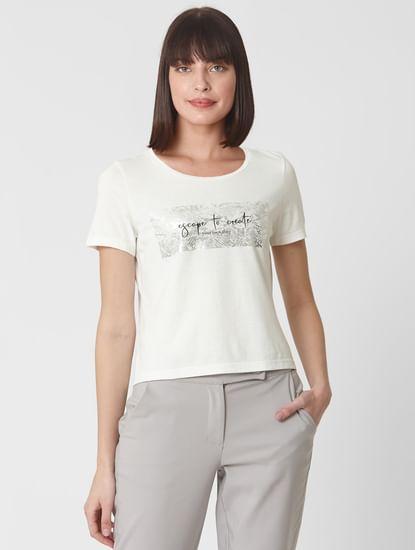 Snow White Text Print Cropped T-shirt
