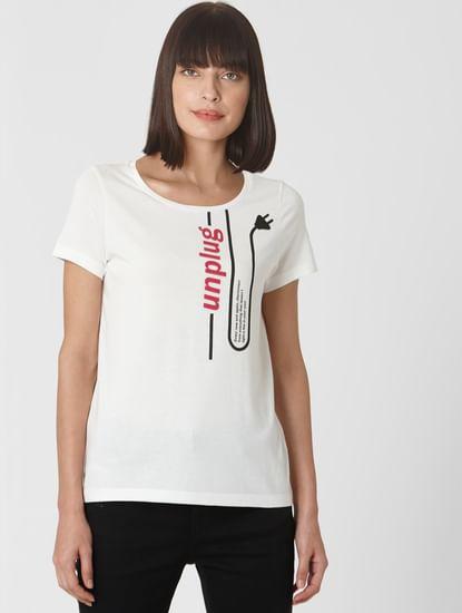 Snow White Unplug Text Print T-shirt