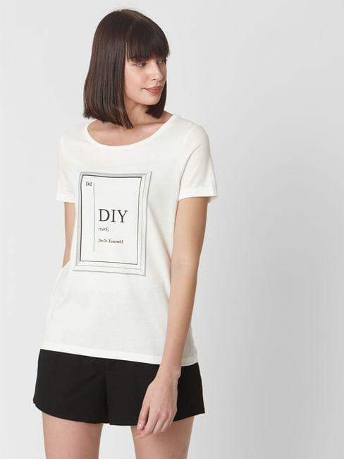 Snow White DIY Text Print T-shirt