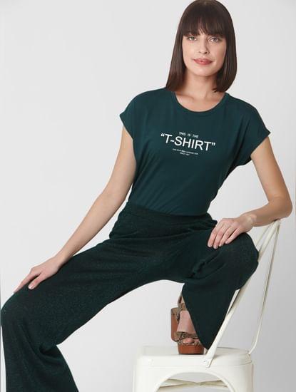 Pine Green Text Print T-shirt