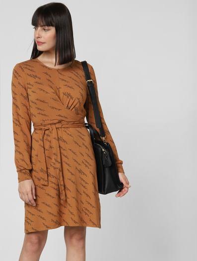 Brown Printed Fit & Flare Dress