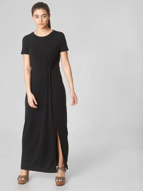Black Side Knot Detail Maxi Dress
