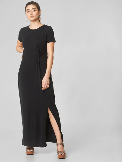 Black Side Knot Detail Maxi Dress