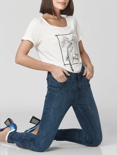 Blue Mid Rise Animal Print Skinny Jeans