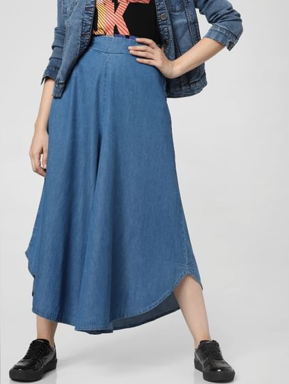 Blue High Rise Flared Denim Culottes