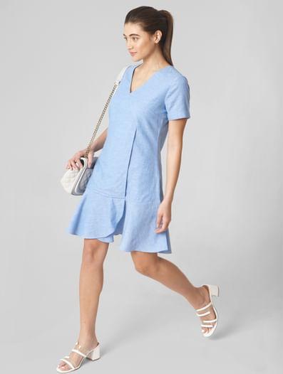 Blue Ruffled Hem Fit & Flare Dress