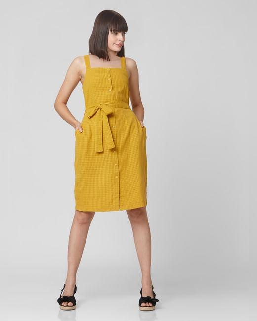 Mustard Check Belted Shift Dress