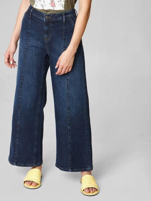Blue Mid Rise Pintuck Detail Wide Leg Jeans