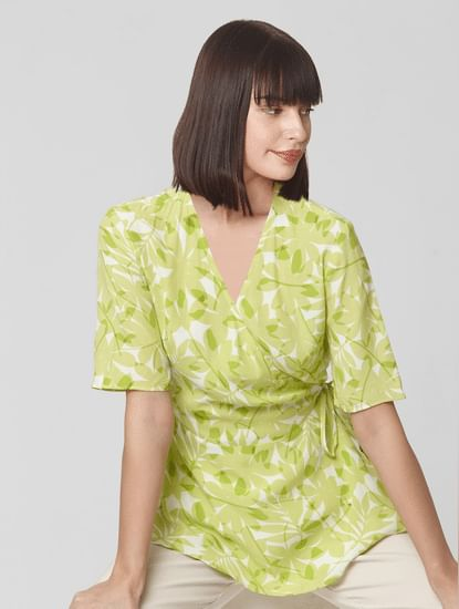 Green Printed Cinched Waist Top