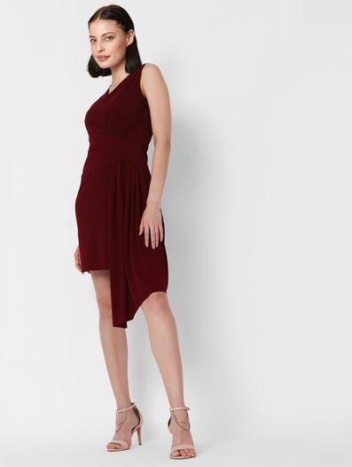 Burgundy Pleated Bodycon Dress