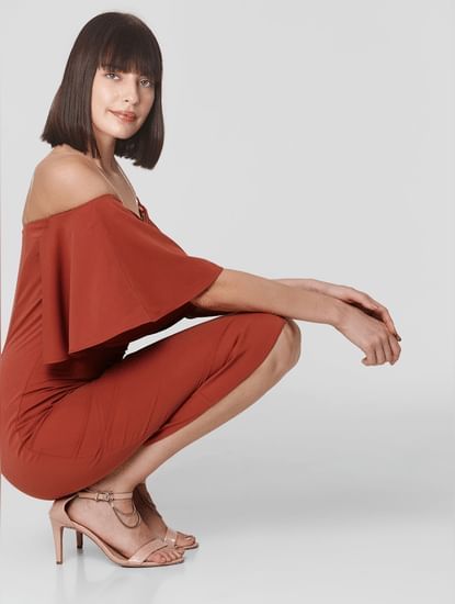 Rust Off-Shoulder Sheath Dress