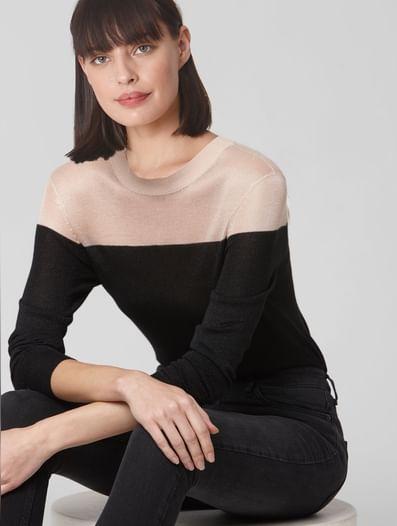 Black Colourblocked Shimmer Pullover