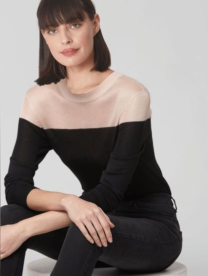 Black Colourblocked Shimmer Pullover