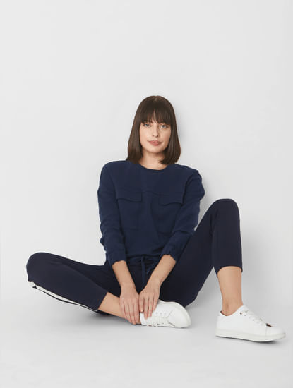 Blue Flap Pockets Cropped Sweatshirt