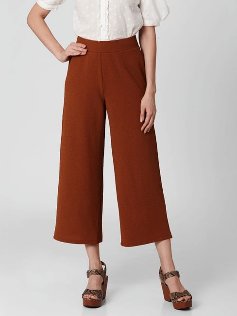 Brown Mid Rise Straight Fit Pants