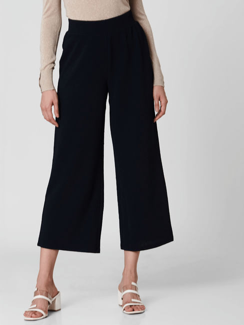 Navy Blue Mid Rise Straight Fit Pants