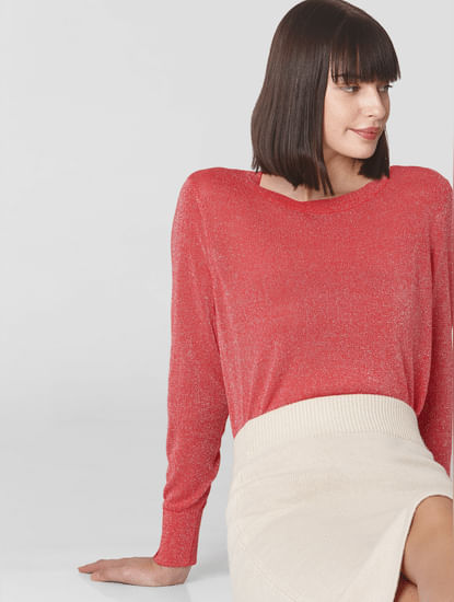 Coral Shimmer Pullover