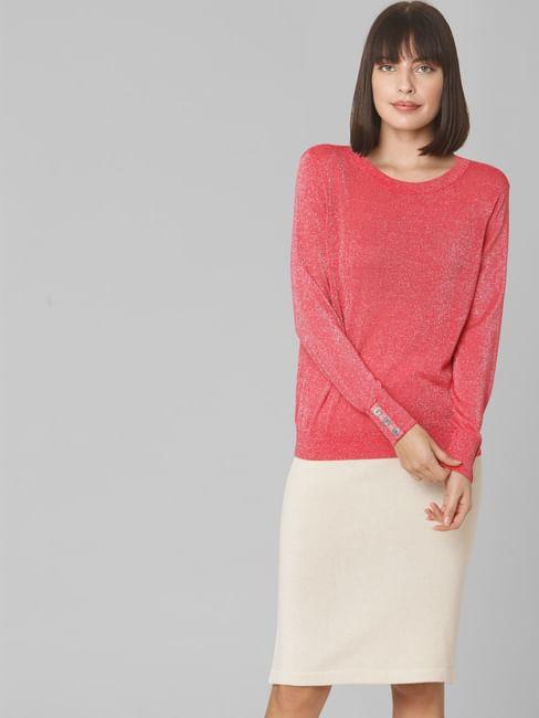 Coral Shimmer Pullover