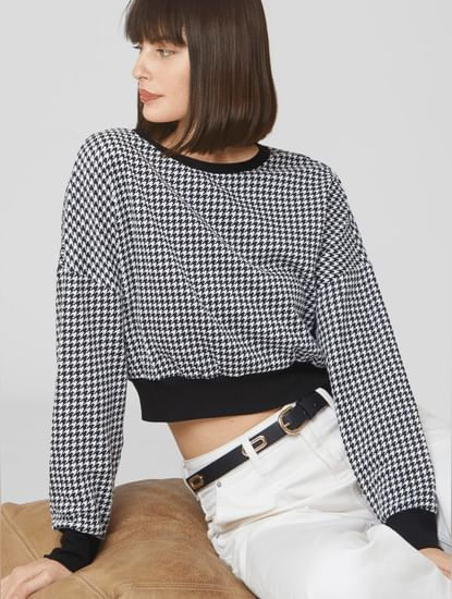 Black Houndstooth Print Cropped Sweatshirt