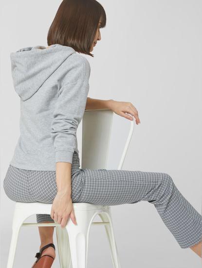 Grey High-Low Hem Hooded Sweatshirt