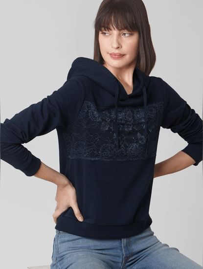 Navy Blue Lace Detail Hooded Sweatshirt
